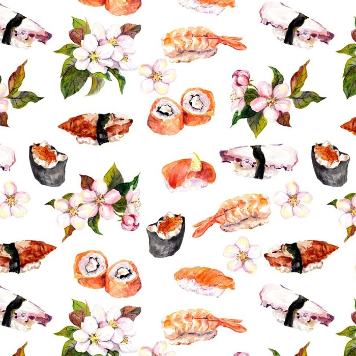 Afwasbaar behang, op maat gemaakt Sushi, sakura bloemen naadloze herhaling patroon. waterverf het voedsel - Eten