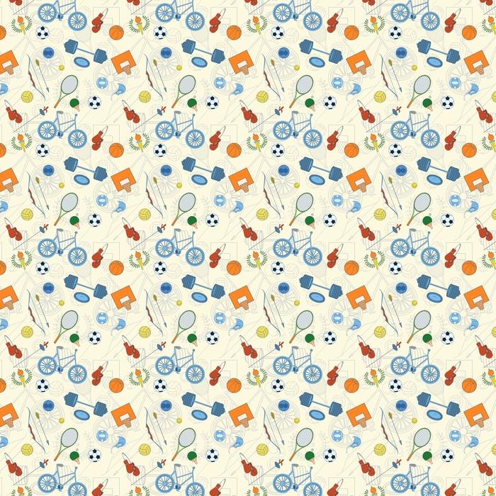 Seamless sport pattern Washable custom-made wallpaper - Sports