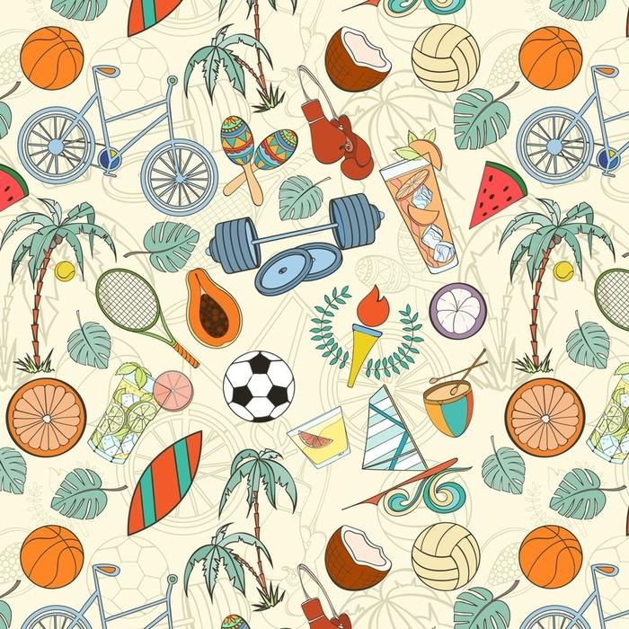 Afwasbaar behang, op maat gemaakt Naadloos sportpatroon - Sport