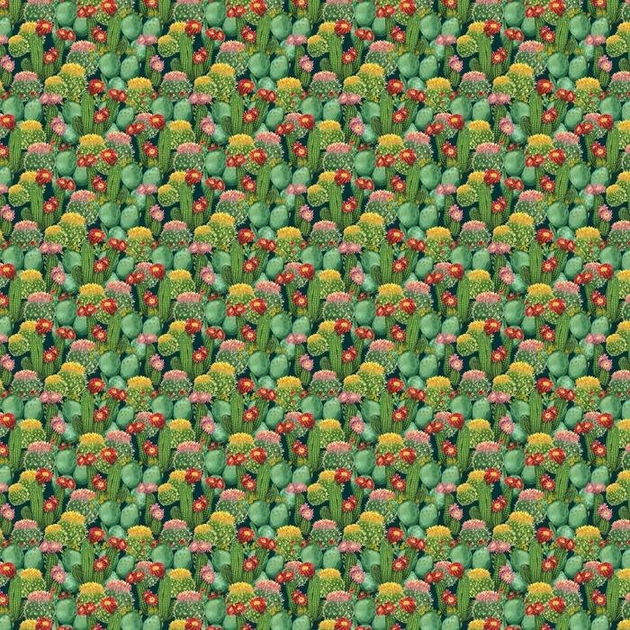 Mønster med blomstrende kaktus Personlige vaskbare tapet - Planter og Blomster