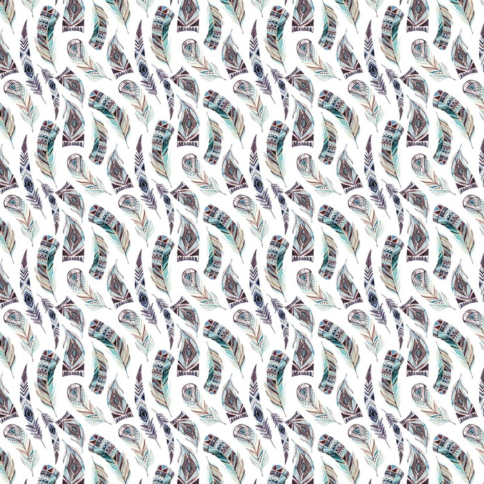 Watercolor decorated tribal feathers seamless pattern Washable custom-made wallpaper - Animals