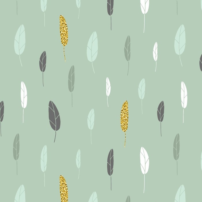 Papier peint lavable sur mesure Un motif à feuilles - Ressources graphiques
