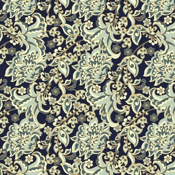 Afwasbaar behang, op maat gemaakt Elegantie naadloze patroon met etnische bloemen. Vector Bloemenillustratie in Aziatische stijl textiel - Grafische Bronnen