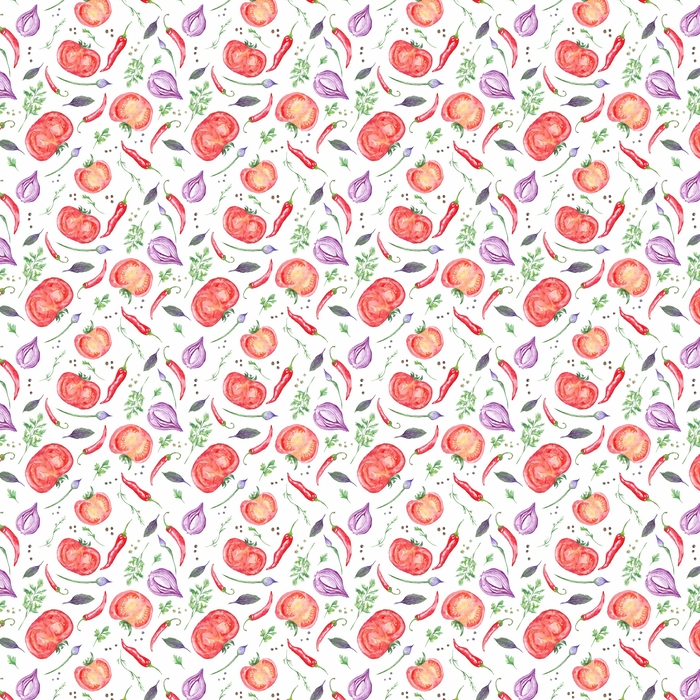 Tomato and Spices Fresh Watercolor Background Washable custom-made wallpaper - Food