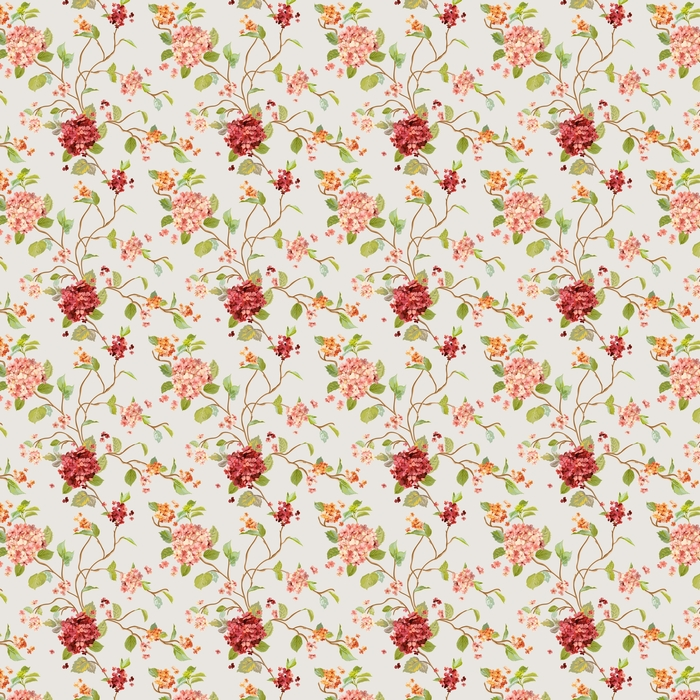 Vintage Flowers - Floral Hortensia Background - Seamless Pattern Washable custom-made wallpaper - Plants and Flowers
