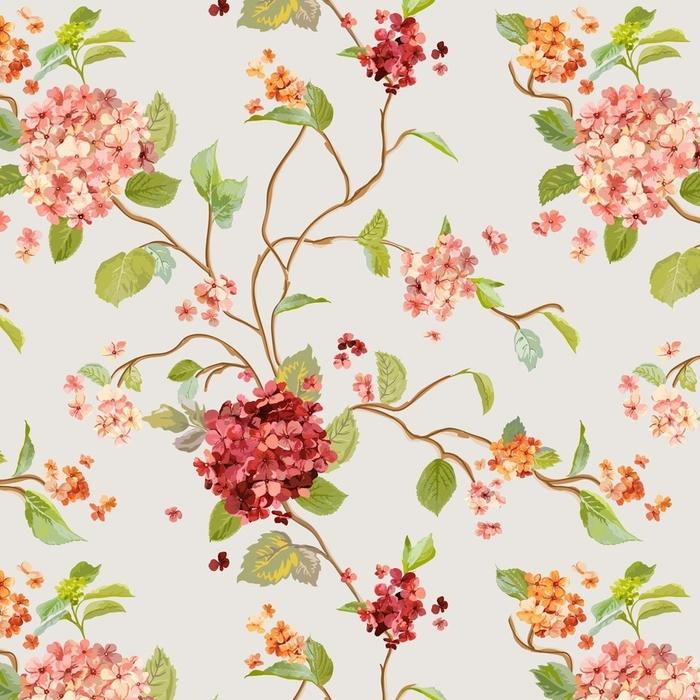 Papier peint lavable sur mesure Fleurs vintage - floral fond d'hortensia - modèle sans couture - Plantes et fleurs