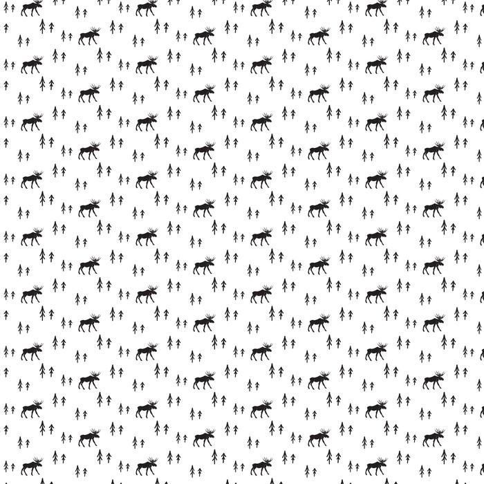 Estilo simple blanco y negro sin fisuras patrón ciervos escandinavo. Ciervos y pinos modelo monocromático silueta.