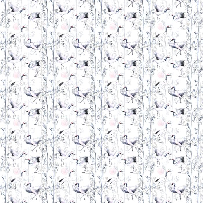 Abwaschbare Tapete nach Maß Nahtloses Muster des von Hand gezeichneten Aquarells mit weißen japanischen Tanzenkränen. wiederholter Hintergrund mit zarten Vögeln und Bambus - Tiere