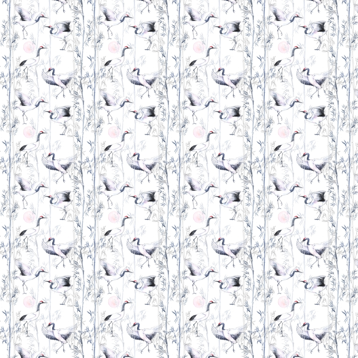 Hand-drawn watercolor seamless pattern with white Japanese dancing cranes. Repeated background with delicate birds and bamboo Washable custom-made wallpaper - Animals