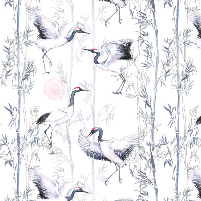 Afwasbaar behang, op maat gemaakt Handgetekende aquarel naadloze patroon met witte Japanse dansende kranen. herhaalde achtergrond met gevoelige vogels en bamboe - Dieren