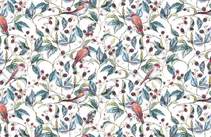 Afwasbaar behang, op maat gemaakt Handgetekende aquarel naadloze patroon met natuurlijke motieven: blackberry takken, bladeren, bessen en wilde vogels - finches. herhaalde achtergrond, afdrukken voor de textiel en wallpapers - Bloemen en Planten