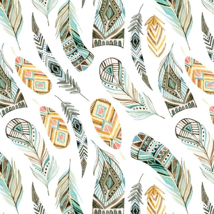 Afwasbaar behang, op maat gemaakt Aquarel etnische veren naadloze patroon - Grafische Bronnen