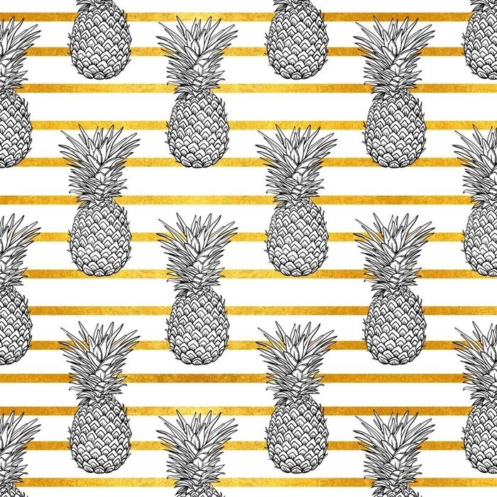 Afwasbaar behang, op maat gemaakt Ananas tropische vector naadloze patroon en gouden strepen. textiel print mode naadloze afbeelding. print in de stijl retro van de jaren 80. - Eten