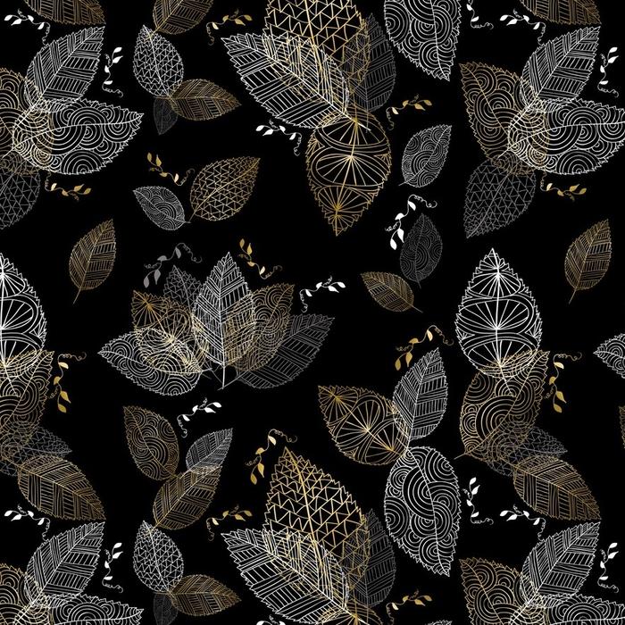 Papier peint lavable sur mesure Chute d'or dessinés à la main feuilles modèle sans couture - Ressources graphiques
