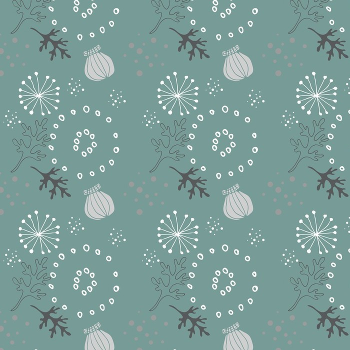 Afwasbaar behang, op maat gemaakt Blauw bloemenpatroon - Slaapkamer