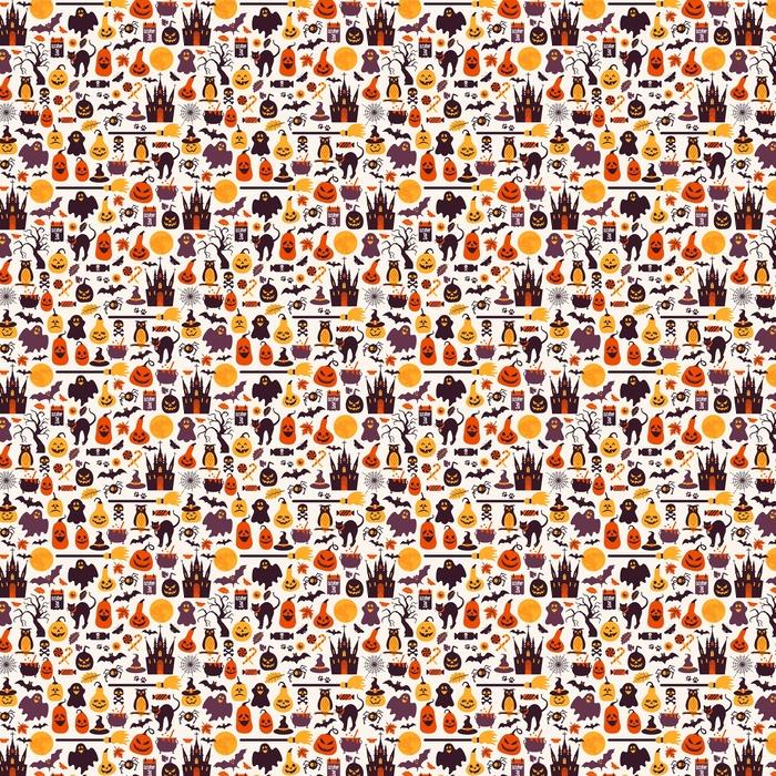 Abwaschbare Tapete nach Maß Nahtloses Muster von Halloween für Herbst Feier mit Symbolen - Religion und Kultur