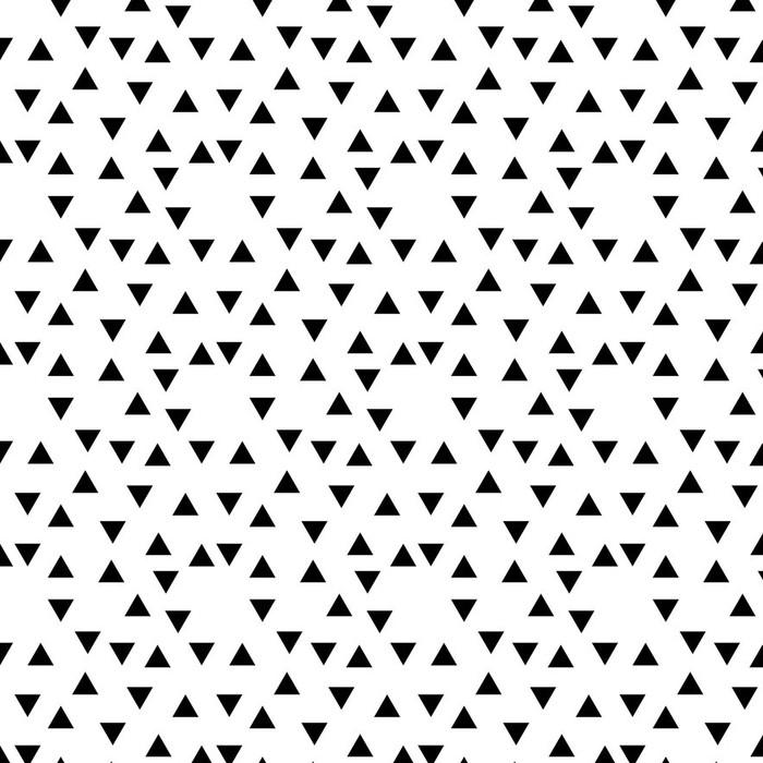 Afwasbaar behang, op maat gemaakt Abstract geometrische zwart en wit hipster fashion willekeurig driehoekspatroon - Slaapkamer