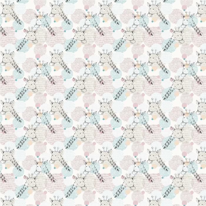 Vector dibujado patrón geométrico sin fisuras con la jirafa