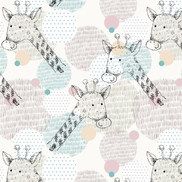 Afwasbaar behang, op maat gemaakt Vector getrokken naadloze geometrische patroon met giraffe - Dieren