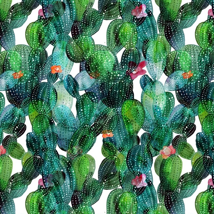 Afwasbaar behang, op maat gemaakt Patroon van de cactus in aquarel stijl - Bloemen en Planten