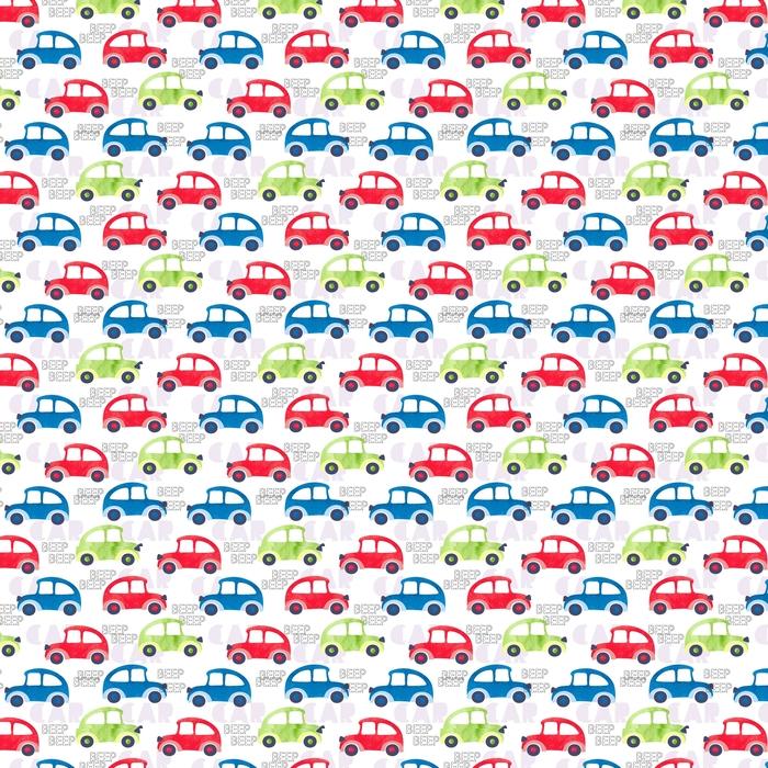 Patrones sin fisuras con coloridos coches de acuarela. Fondo de vector, adecuado para niños textil, tela, papel pintado, embalaje.