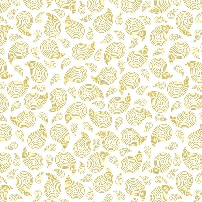 Afwasbaar behang, op maat gemaakt Golden paisley naadloos patroon. Sier motieven van de schilderijen van de oude Indische stof patronen. Vector illustratie. - Levensstijl