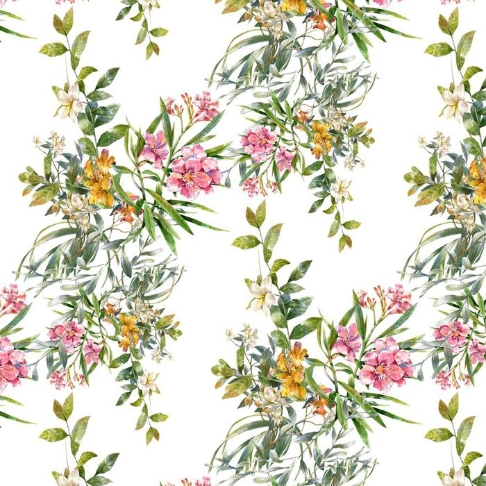 Afwasbaar behang, op maat gemaakt Waterverf schilderij van blad en bloemen, naadloos patroon op een witte achtergrond - Hobby's en Vrije tijd