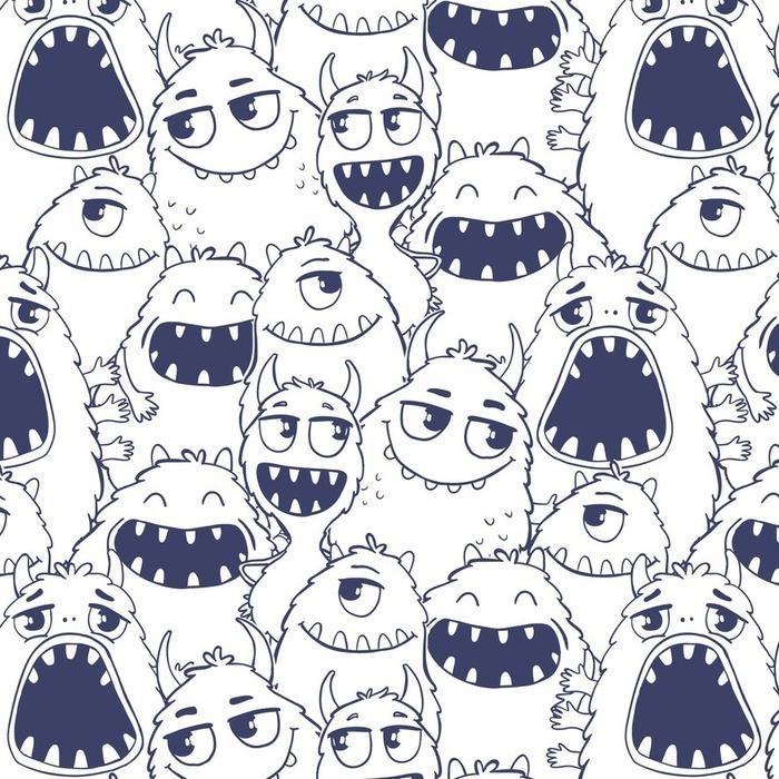Afwasbaar Behang Naadloos patroon met monsters. - Dieren