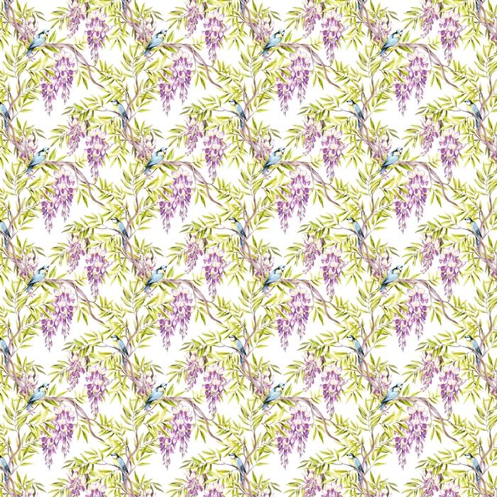 Abwaschbare Tapete nach Maß Nahtlose Muster mit Glyzinien. Hand zeichnen Aquarell Abbildung - Pflanzen und Blumen