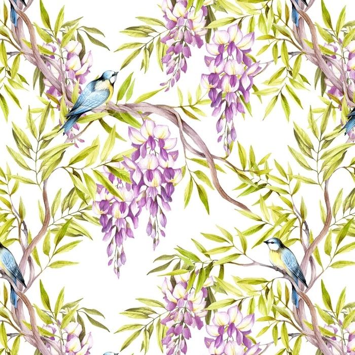Afwasbaar behang, op maat gemaakt Naadloze patroon met blauweregen. hand tekenen aquarel illustratie - Bloemen en Planten