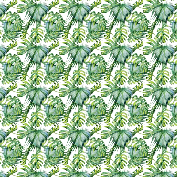 Illustration aquarelle transparente de feuilles tropicales, jungle dense. peinte à la main. bannière avec tropique motif d'été peut être utilisé comme texture de fond, papier d'emballage, textile ou papier peint.