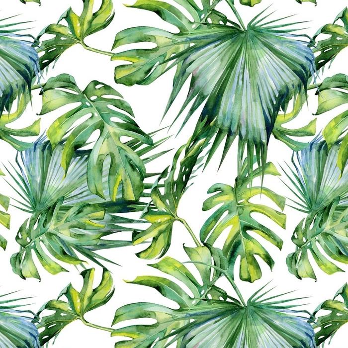 Papier peint lavable sur mesure Illustration aquarelle transparente de feuilles tropicales, jungle dense. peinte à la main. bannière avec tropique motif d'été peut être utilisé comme texture de fond, papier d'emballage, textile ou papier peint. - Plantes et fleurs