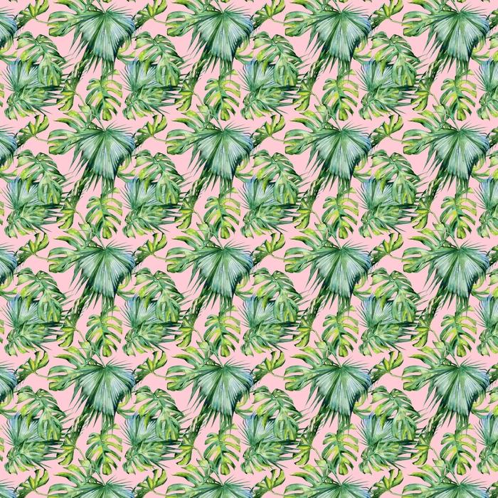 Abwaschbare Tapete nach Maß Nahtlose Aquarellillustration von tropischen Blättern, dichter Dschungel. handgemalt. Banner mit tropischem Sommerzeitmotiv kann als Hintergrundtextur, Geschenkpapier, Textil- oder Tapetendesign verwendet werden. - Pflanzen und Blumen