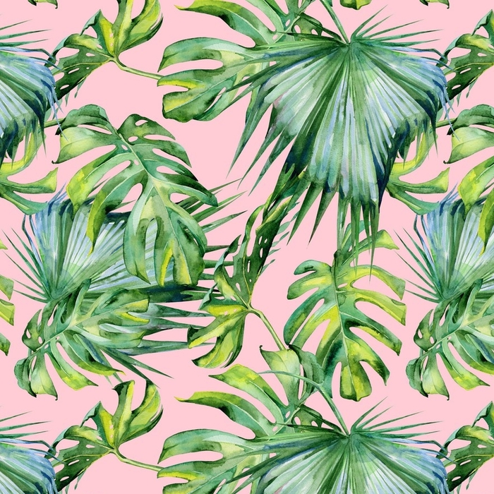 Afwasbaar Behang Naadloze aquarel illustratie van tropische bladeren, dichte jungle. hand geschilderd. banner met tropisch zomermotief kan worden gebruikt als achtergrondstructuur, inpakpapier, textiel of behangontwerp. - Bloemen en Planten