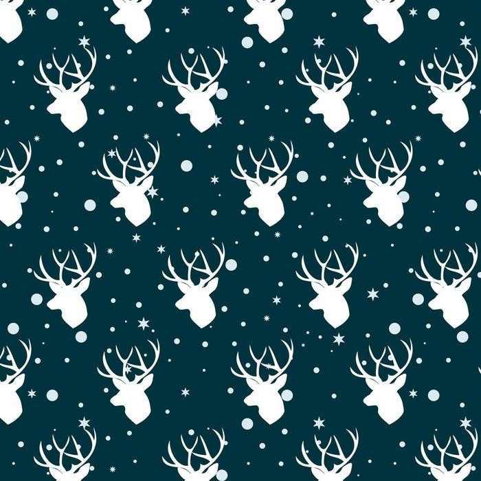 Afwasbaar behang, op maat gemaakt Kerst patroon met herten. herten leidt naadloos patroon - Grafische Bronnen
