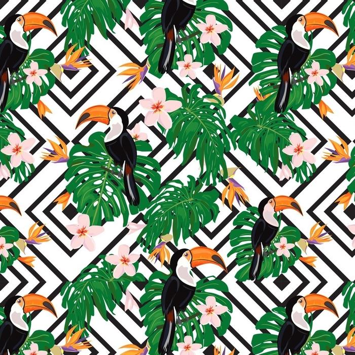 Afwasbaar behang, op maat gemaakt Kleurrijke tropische naadloze patroon met toucan vogels - Grafische Bronnen