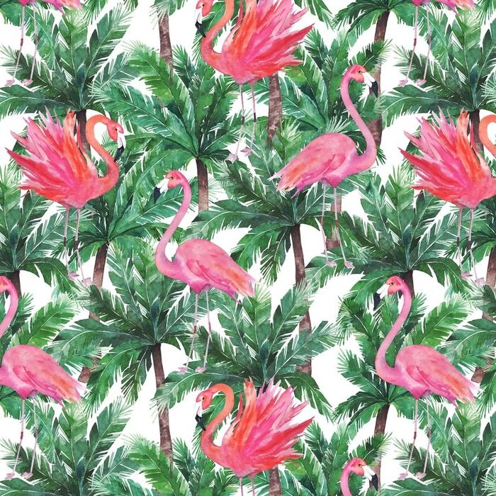 Afwasbaar behang, op maat gemaakt Aquarel roze flamingo's, exotische vogels, tropische palmbladeren. s - Grafische Bronnen