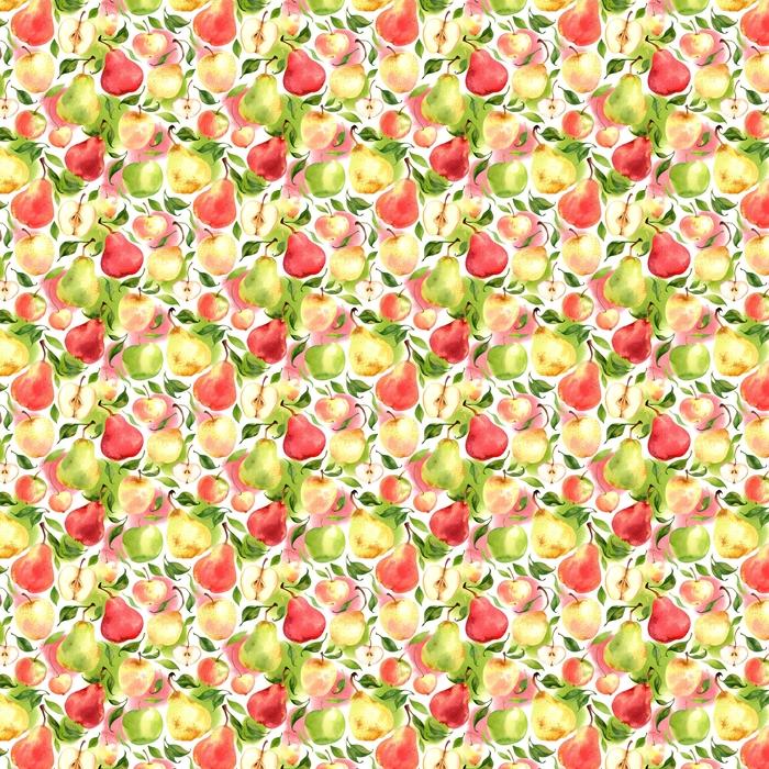 Patrón sin fisuras con acuarela manzanas y peras sobre fondo blanco