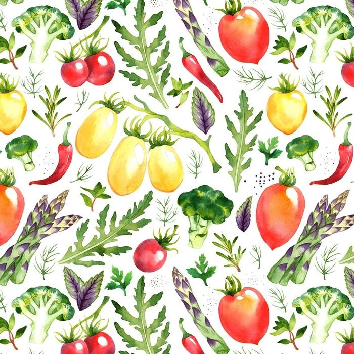 Afwasbaar behang, op maat gemaakt Naadloze patroon met aquarel groenten op witte achtergrond - Eten
