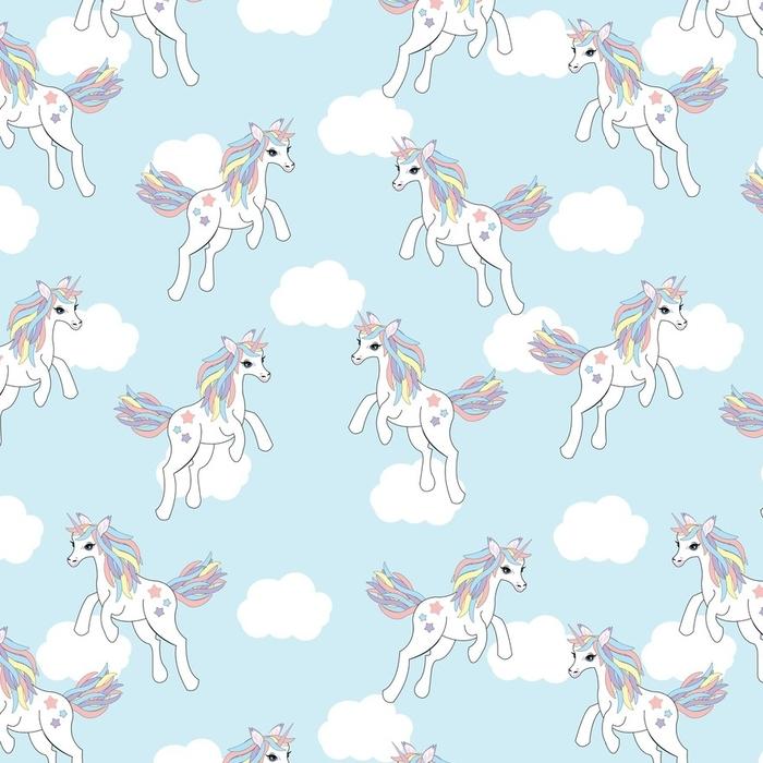 Afwasbaar behang, op maat gemaakt Naadloze achtergrond van dierlijke illustratie met schattige Eenhoorn op blauwe hemelachtergrond geschikt voor kinderen behang, scrapbooking papier en briefkaart - Dieren