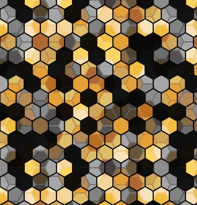 Afwasbaar behang, op maat gemaakt Modern naadloos patroon van zeshoeken veelkleurige abstracte geometrische achtergrond. vectorillustratie - Grafische Bronnen