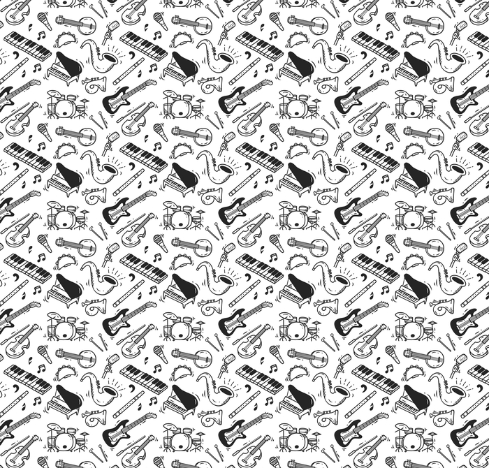 Music instrument doodle background Washable custom-made wallpaper - Hobbies and Leisure