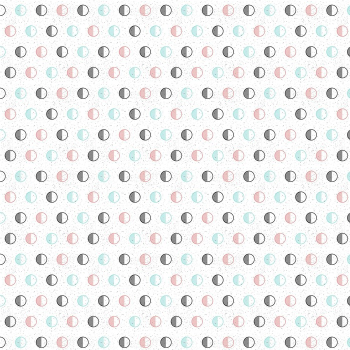 Circle seamless background. Black, blue and pink. Washable custom-made wallpaper - Graphic Resources