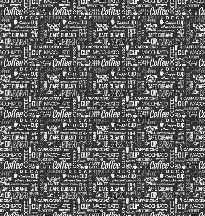 Azulejo sin fisuras de fondo de palabras y símbolos de café