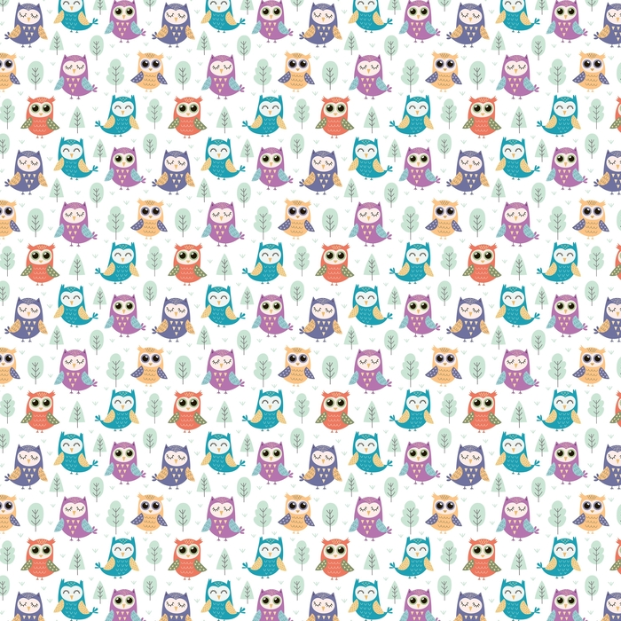 Cute owls seamless pattern Washable custom-made wallpaper - Graphic Resources