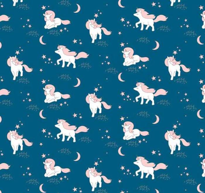 Afwasbaar behang, op maat gemaakt Naadloos patroon met schattige Eenhoorns, sterren en maan. Vector illustratie - Graphic Resources