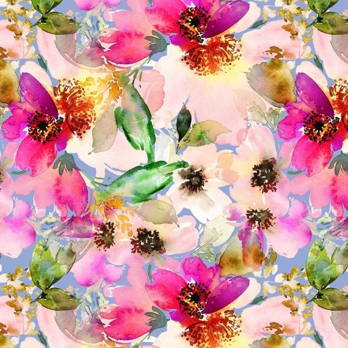 Afwasbaar behang, op maat gemaakt Naadloze zomer patroon met aquarel bloemen handgemaakte. - Grafische Bronnen
