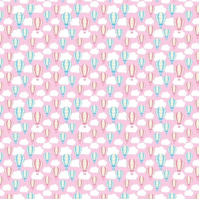 Baby shower seamless pattern with cute hot air balloons on pink sky suitable for baby shower wallpaper, scrap paper and fabric pattern Washable custom-made wallpaper - Transport