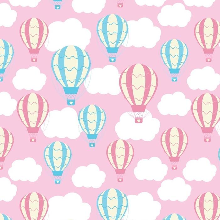 Afwasbaar behang, op maat gemaakt Babydouche naadloze patroon met schattige hete lucht ballonnen op roze lucht geschikt voor baby shower behang, schroot papier en weefsel patroon - Transport