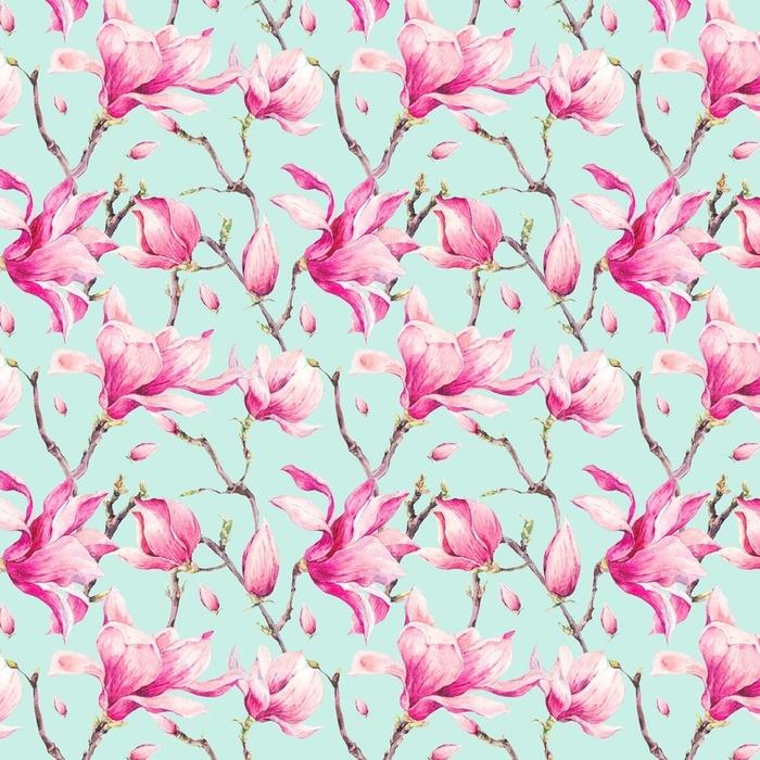 Afwasbaar behang, op maat gemaakt Aquarel bloemen lente naadloze patroon met magnolia - Hobby's en Vrije tijd